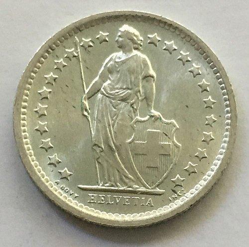 SWITZERLAND 1967 B  1/2 FRANC SILVER