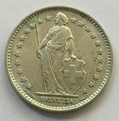 SWITZERLAND 1965 B  1 FRANC SILVER