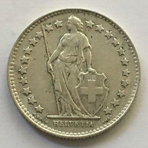 SWITZERLAND 1951 B  1/2 FRANC SILVER