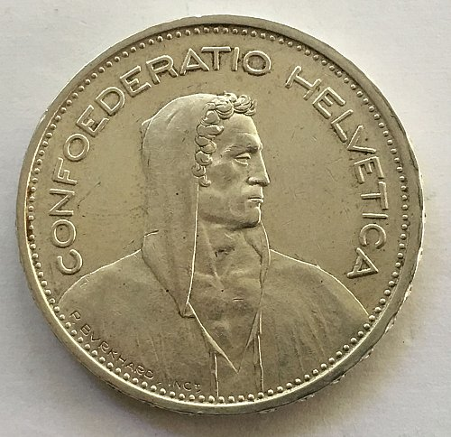 SWITZERLAND 1931 B  5 FRANCS TYPE 1 SILVER
