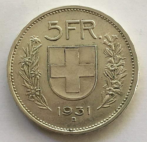 SWITZERLAND 1931 B  5 FRANCS TYPE 1 SILVER