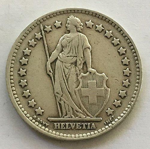 SWITZERLAND 1947 B  1 FRANC SILVER
