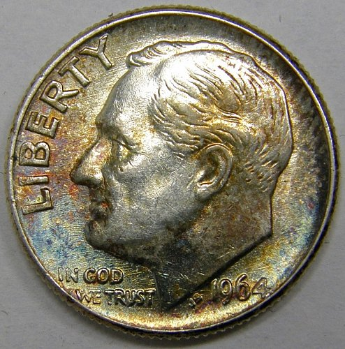 1964 P Roosevelt Dime #4 Nicely Toned