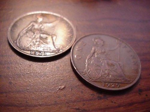 2-great britan pennys 1921,1929 nice
