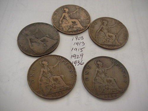 5-nice great britan pennys 1908,13,15,29,36
