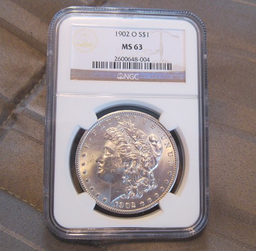 1902 O MORGAN SILVER DOLLAR, NGC MS63