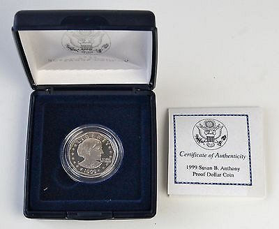 1999 $1 Susan B Anthony Proof Dollar Coin with Box & COA