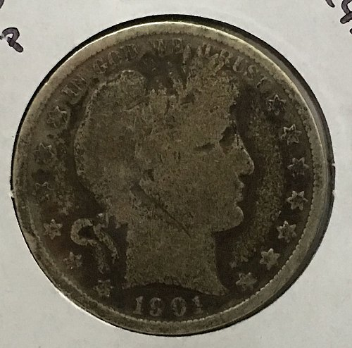 1901 P Barber Half Dollar - Toned