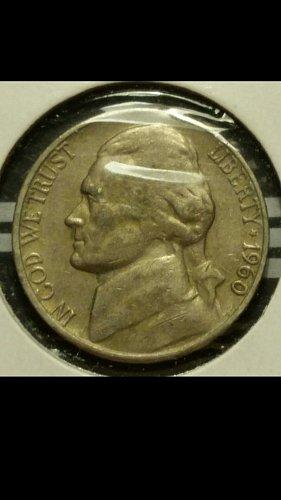 1960-D nickel  (lamination reverse)