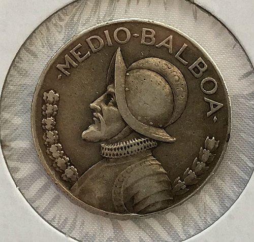 1930 Panama Medio Balboa .900 Silver - Toned