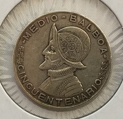 1953 Panama Medio Balboa Silver - 50th Anniversary of the Republic of Panama