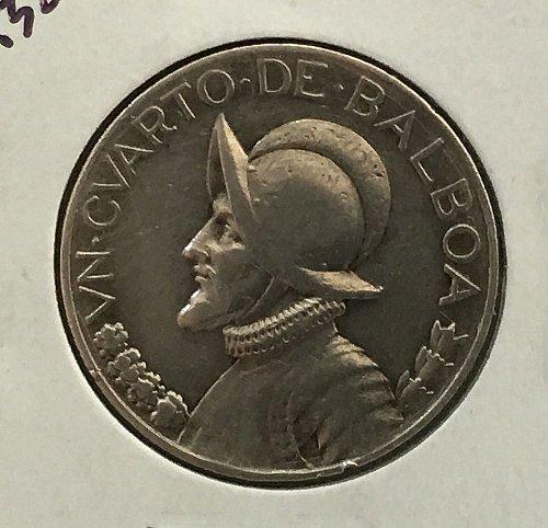 1932 Panama 1/4 Balboa .900 Silver