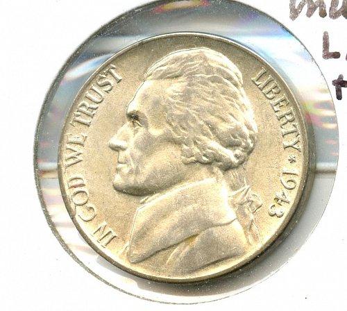 1943 P War Nickel BU striated reverse