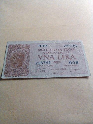 1944 ITALY 1 LIRE NOTE