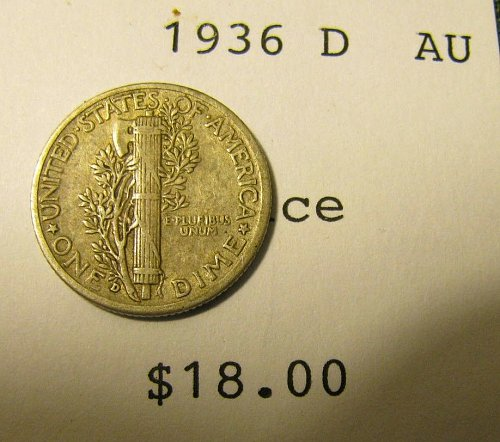 1936 D SILVER Mercury DimeWin 1st dime/s, take 20% off 2nd refunded