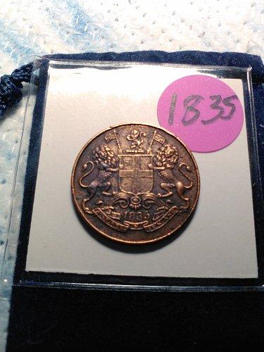 1835 EAST INDIA COMPANY 1/4 ANNA