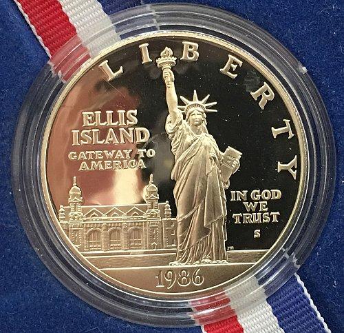 1986 S Statute of Liberty Centennial Silver Dollar - COA