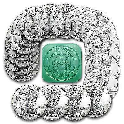 2016, 1oz Silver American Eagle Coin Roll. Tube of 20.