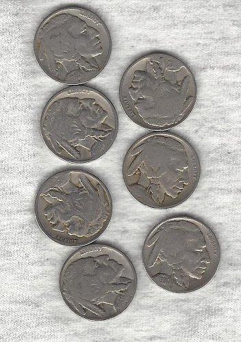 7  Buffalo Nickel  run from 1924 to 1930 - Seven Buffalos for only $2.41