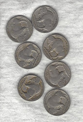 7  Buffalo Nickel  run from 1924 to 1930 - Seven Buffalos for only $2.41