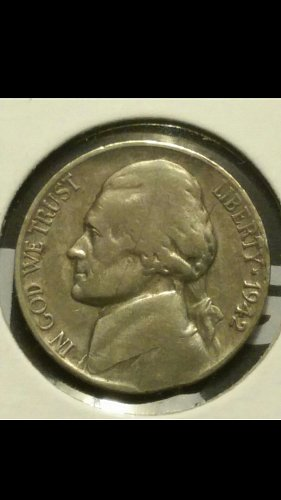 1942-S nickel with clipped planchet