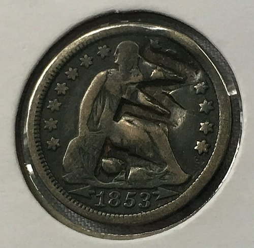 1853 P Seated Liberty Dime - With Arrows