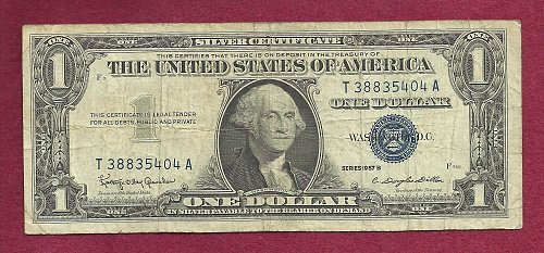 US 1957 B CIRC $1 Dollar Banknote # T38835404A- SILVER CERTIFICATE !!!