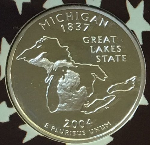 2004 S SILVER PROOF MICHIGAN STATE QUARTER