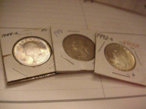 3-proof quarters 1988s,91s,92s