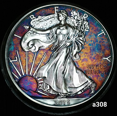 2015 Rainbow Toned Silver American Eagle 1 troy ounce silver #a308