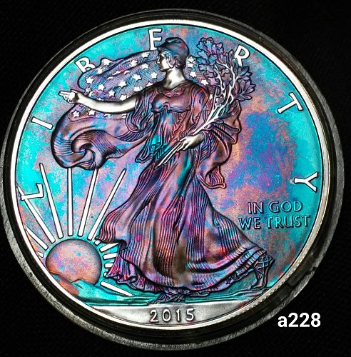 2015 Rainbow Toned Silver American Eagle 1 troy ounce silver #a228