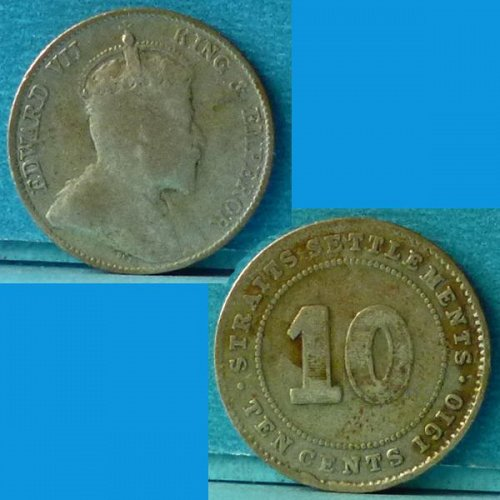 Straits Settlements 10 Cents 1910 km 21a Silver