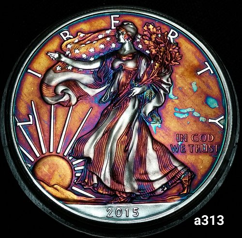 2015 Rainbow Toned Silver American Eagle 1 troy ounce silver #a313