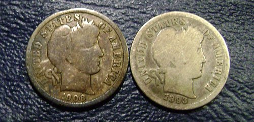 1893-S & 1908-O Barber Dimes Free Shipping