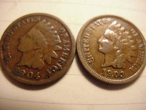 2-indian pennys 1903 & 1904