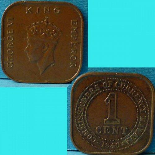 Malaya 1 Cent 1940 km 2