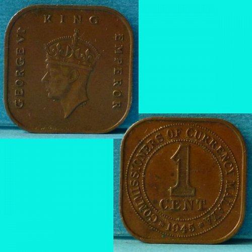 Malaya 1 Cent 1945 km 6