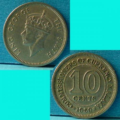 Malaya 10 Cent 1950 km 8