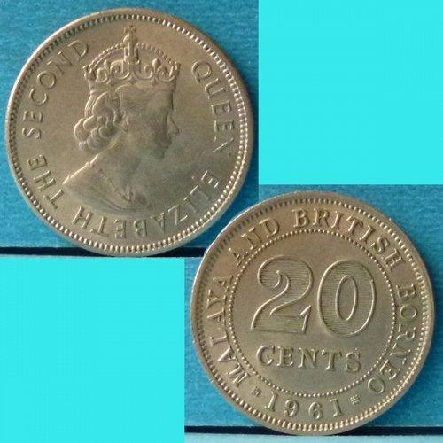 Malaya and British Borneo 20 Cents 1961 km 3