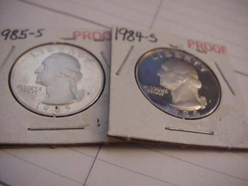 2-proof quarters 1984s and 1985s