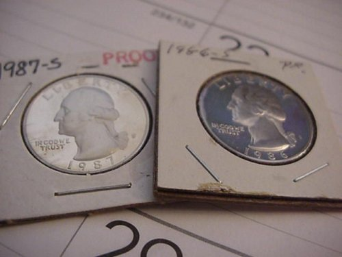 2-proof quarters 1986s and 1987s