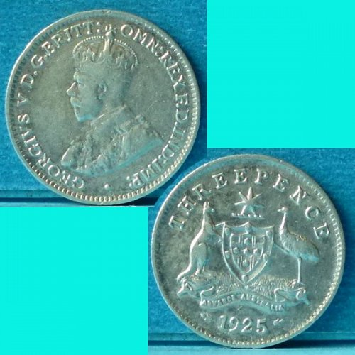 Australia 3 d pence 1925(m) km 24 Silver 0.0419 oz