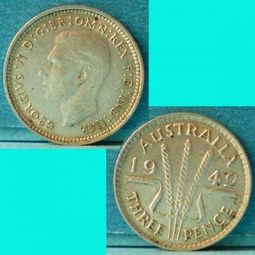 Australia 3 d pence 1942 S km 37 Silver