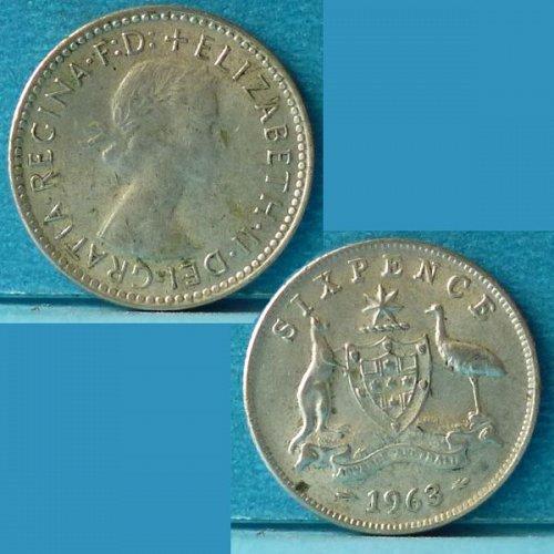 Australia 6 d pence 1963(m) km 58 Silver