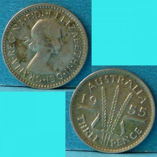 Australia 3 d Pence 1955 km 57 Silver