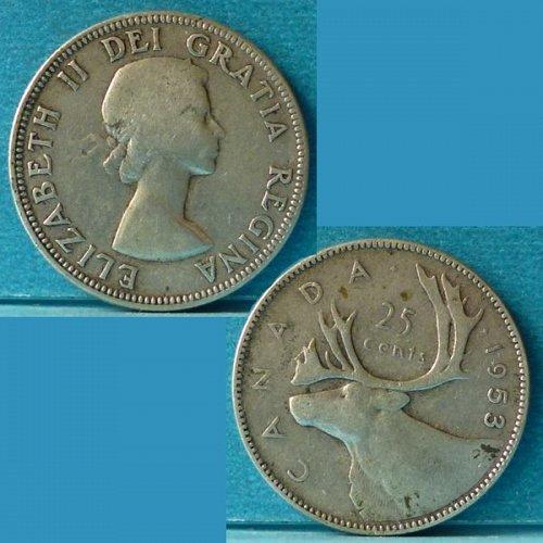 Canada 25 Cents 1953 km 52 Silver