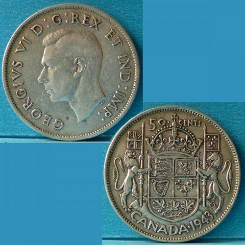 Canada 50 Cents 1943 km 36 Silver