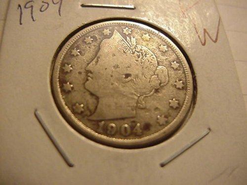 2-nice liberty nickels 1904 & 1907