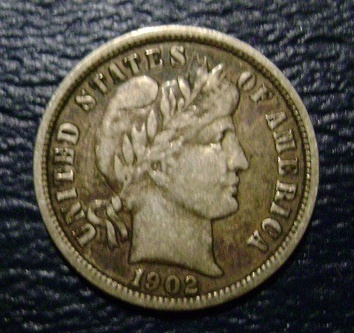 1902-O VF Very Fine Barber Dime Free Shipping