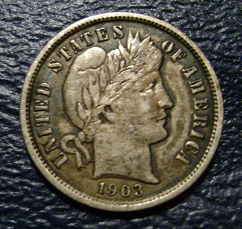 1903-O VF Very Fine Barber Dime Free Shipping